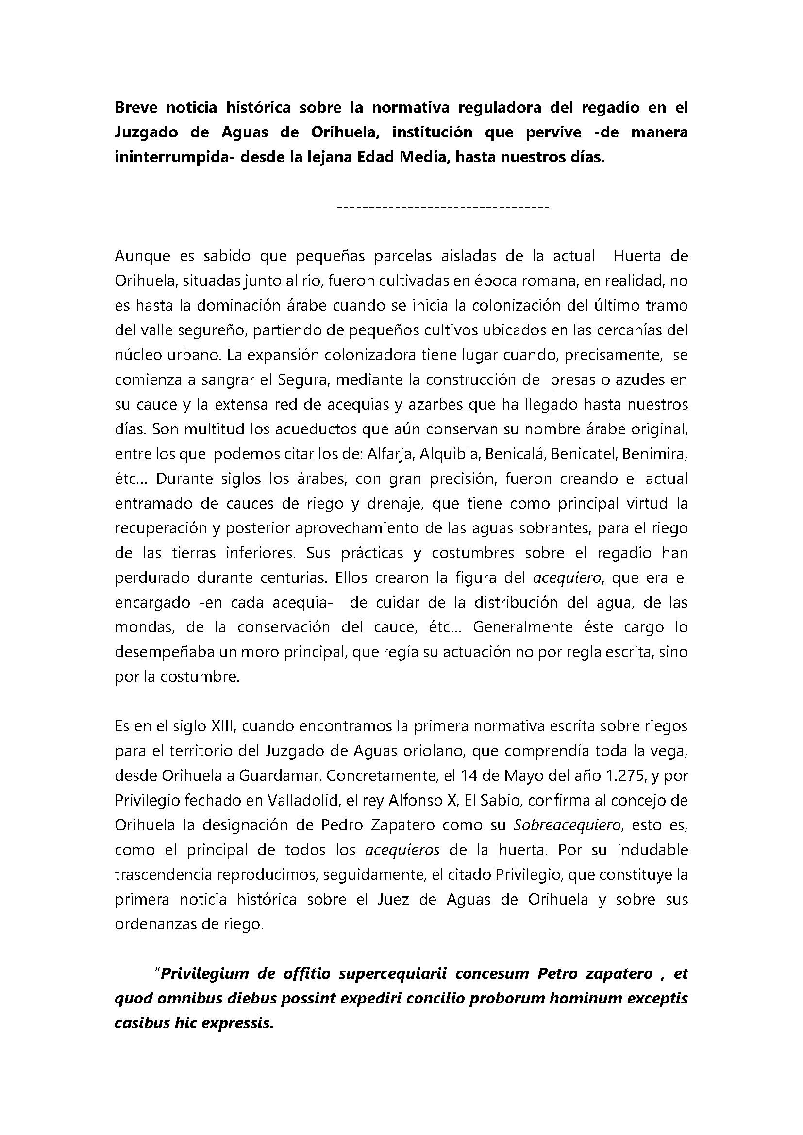 Breve noticia histórica sobre la normativa reguladora del regadío en el Juzgado de Aguas de Orihuela_Página_1