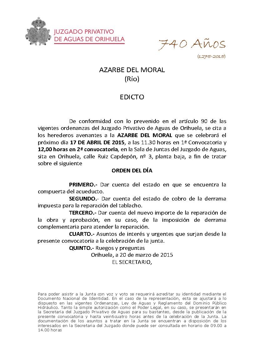 232 2014 AZARBE DEL MORAL  EDICTO CITACION A JUNTA