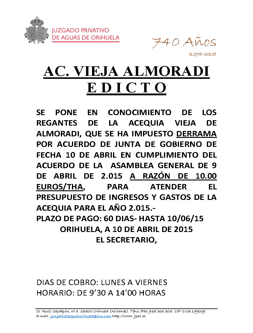 22 2015 ACEQUIA VIEJA DE ALMORADI  EDICTO IMPOSICION DE DERRAMA