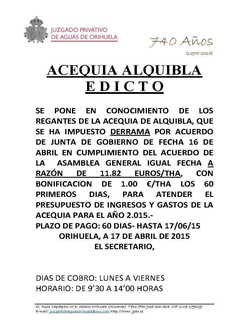37 2015 ACEQUIA ALQUIBLA  EDICTO IMPOSICION DERRAMA
