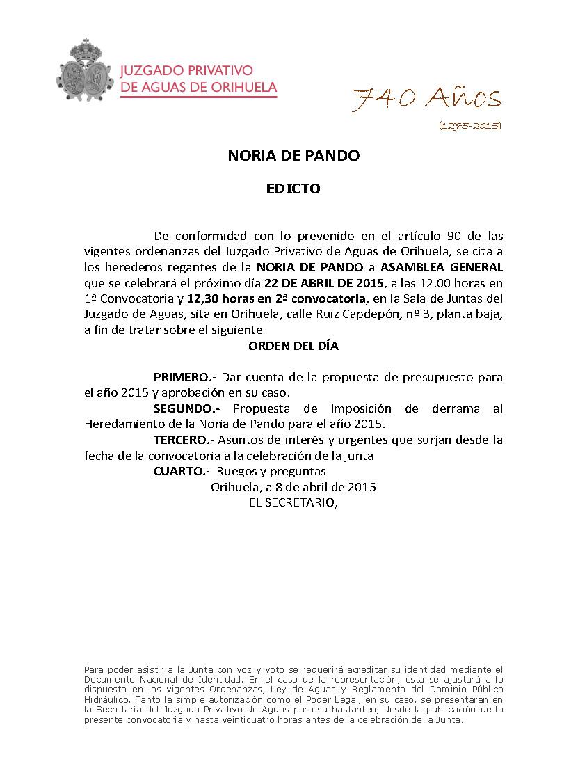 43 2015 NORIA DE PANDO EDICTO JUNTA