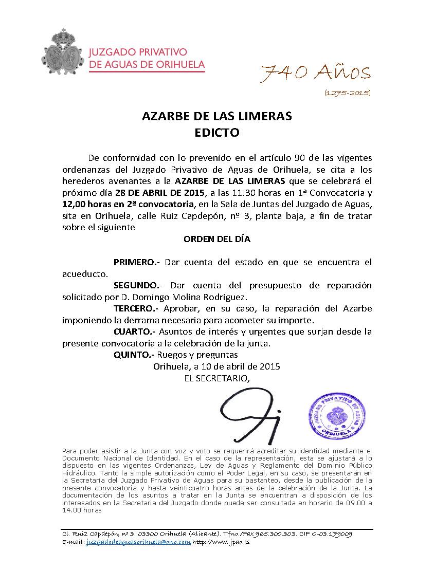 44 2015 AZARBE DE LAS LIMERAS  PAPELETA CITACION JUNTA