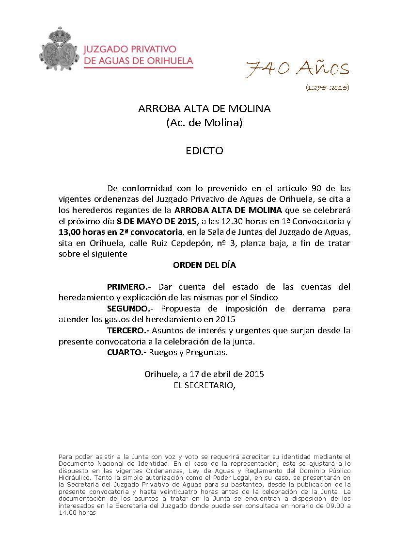 49 2015 ARROBA ALTA  edicto citacion junta