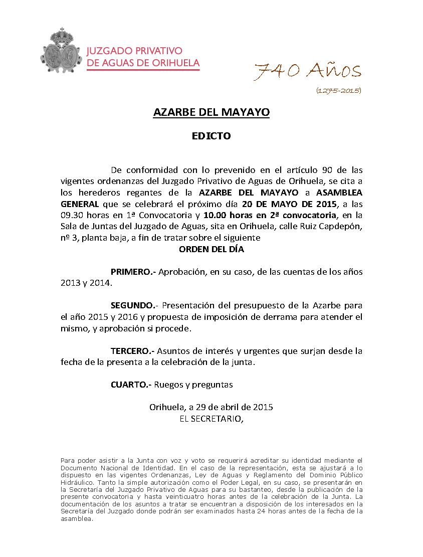 57 2015 AZARBE DEL MAYAYO  CITACION ASAMBLEA GENERA