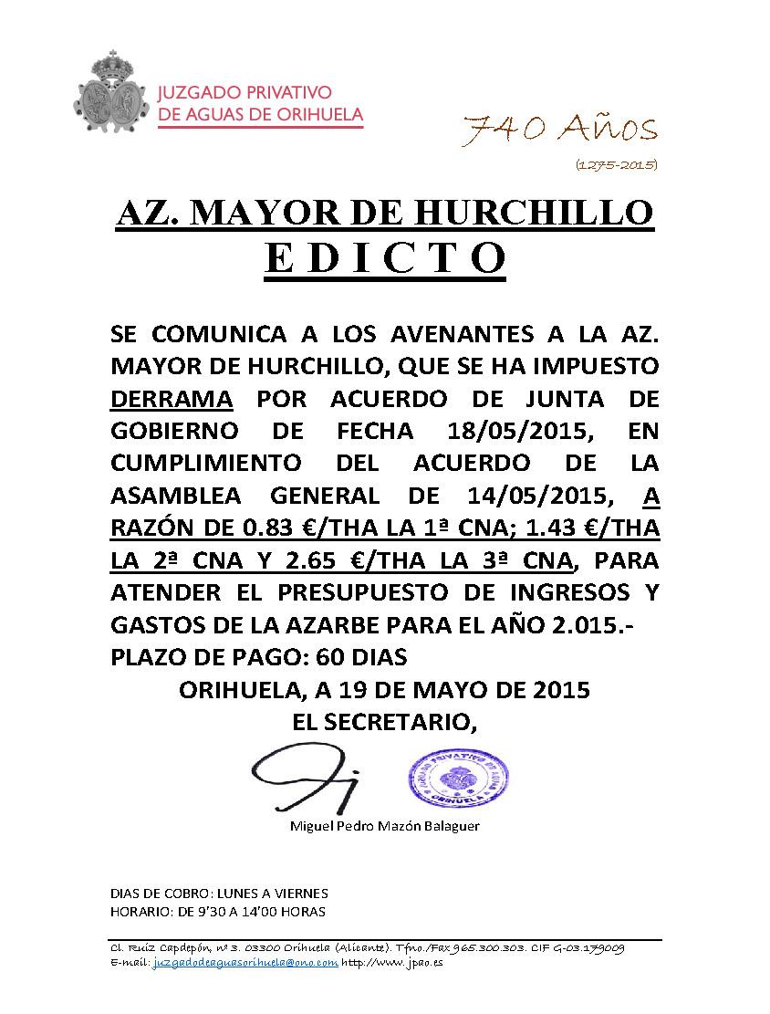 51 2015 AZARBE MAYOR DE HURCHILLO  EDICTO IMPOSICION DE DERRAMA