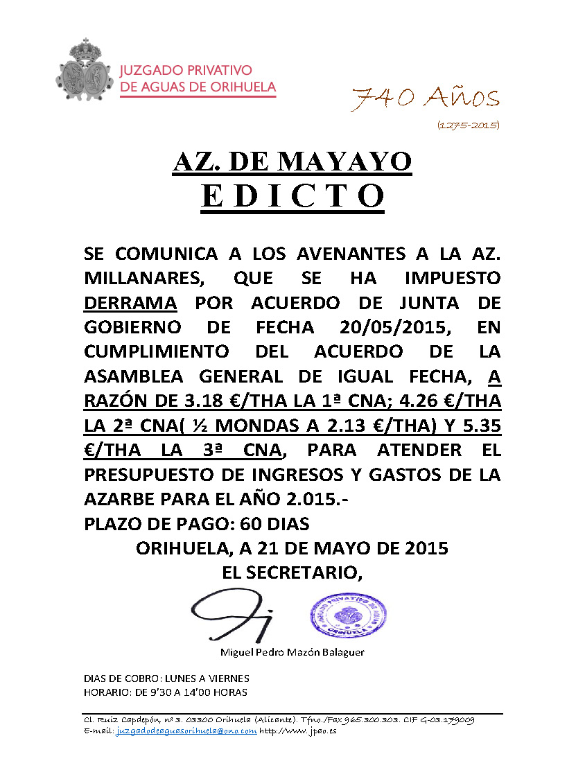 53 2015 AZARBE DE MAYAYO  EDICTO IMPOSICION DE DERRAMA
