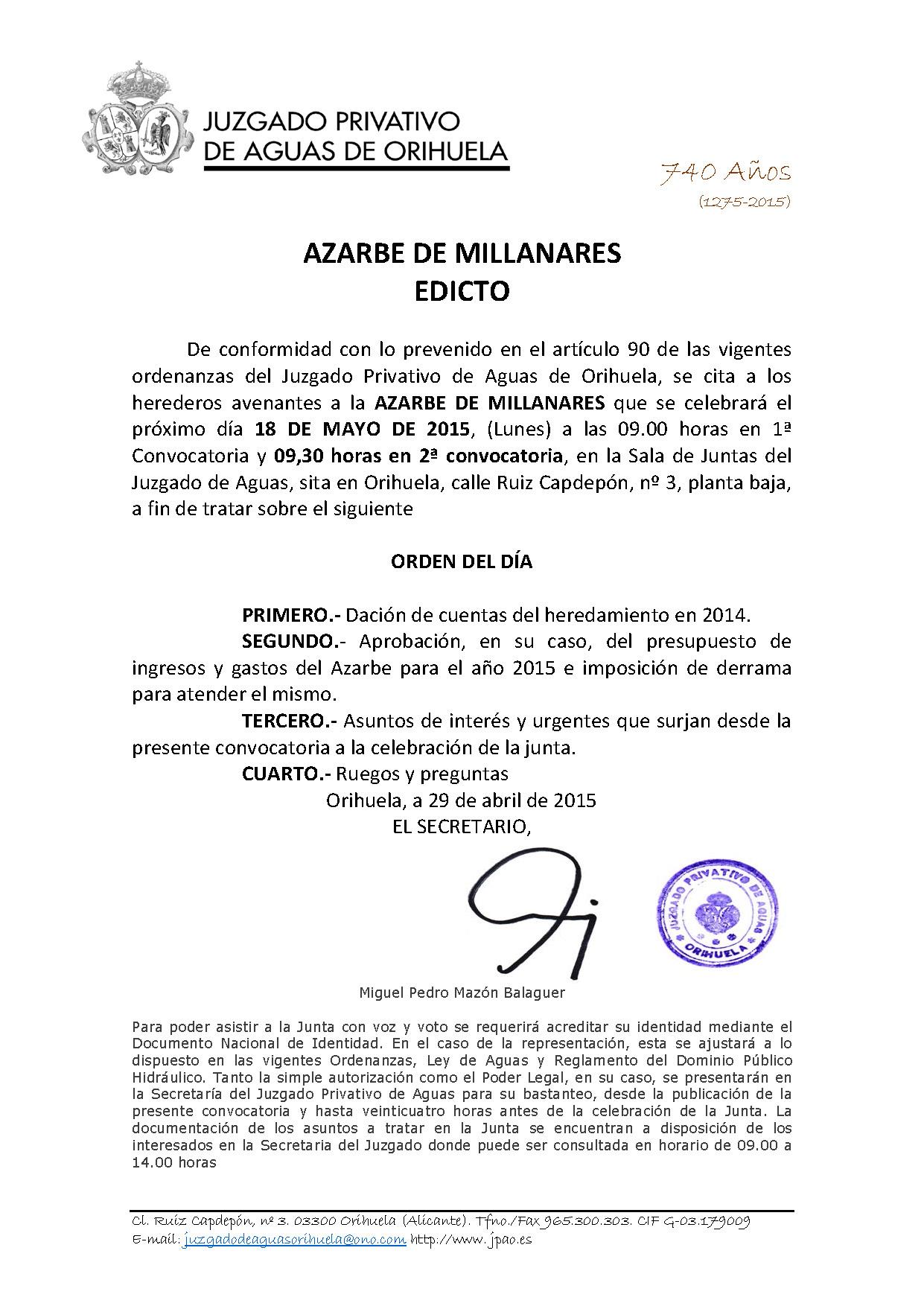 58 2015 AZARBE DE MILLANARES  EDICTO ASAMBLEA GENERAL