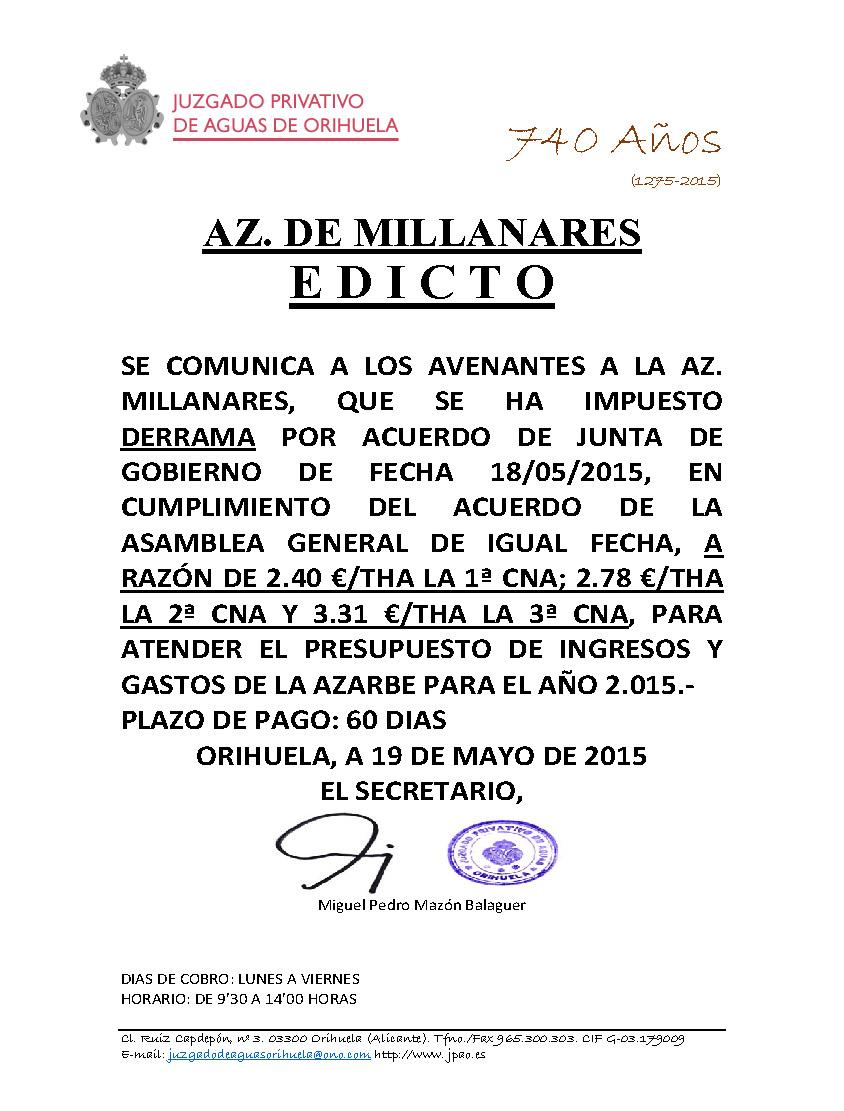 58 2015 AZARBE DE MILLANARES  EDICTO IMPOSICION DE DERRAMA