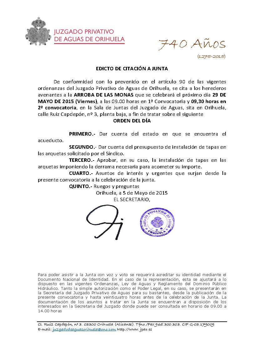 62 2015 ARROBA DE LAS MONAS  EDICTO CONVOCATORIA JUNTA
