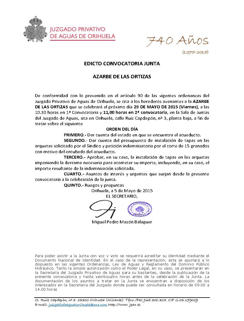 63 2015 AZARBE DE LAS ORTIZAS  EDICTO CONVOCATORIA JUNTA
