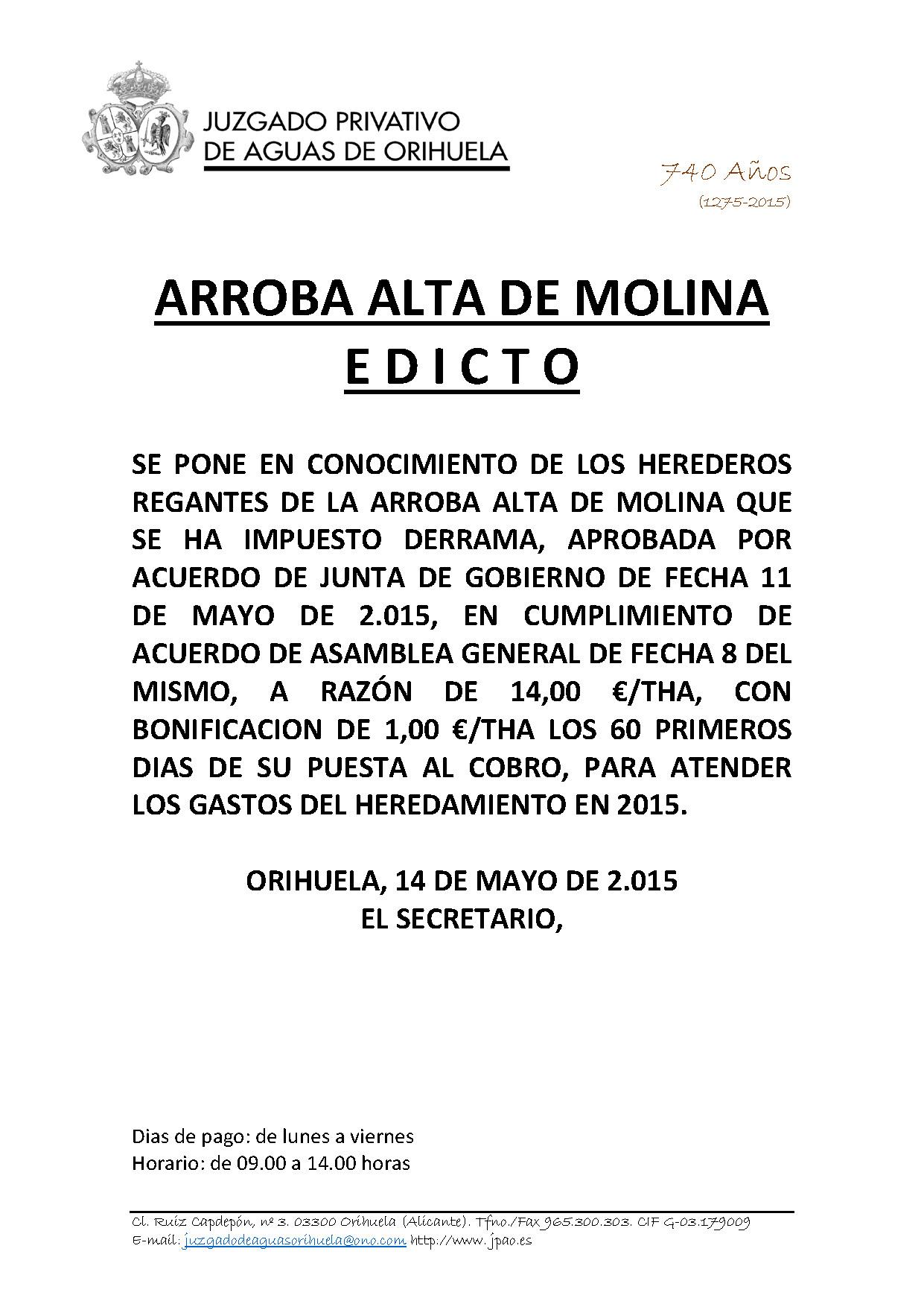 ARROBA ALTA DE MOLINA  Edicto