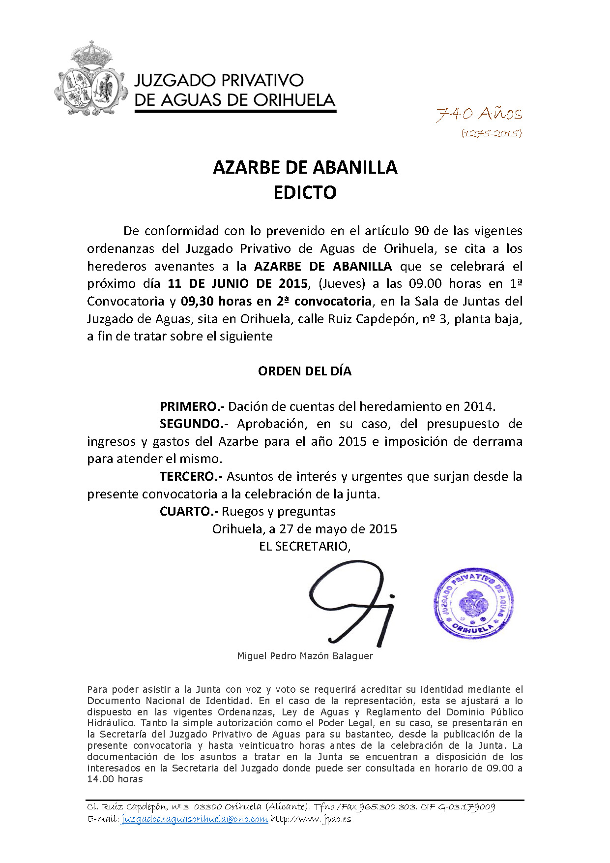 77 2015 AZARBE DE ABANILLA  EDICTO ASAMBLEA GENERAL