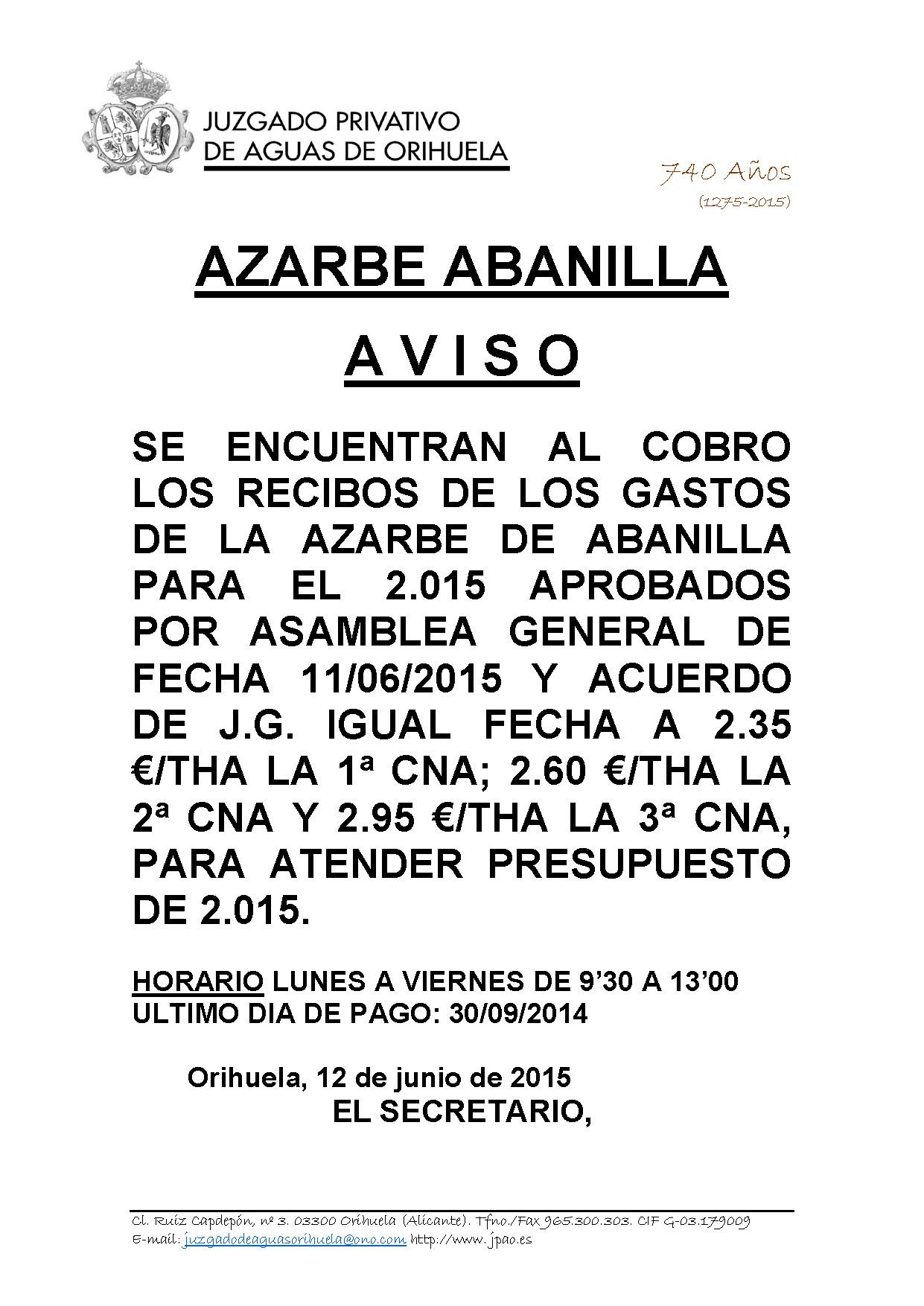 77 2015 azarbe de abanilla  edicto imposicion derrama