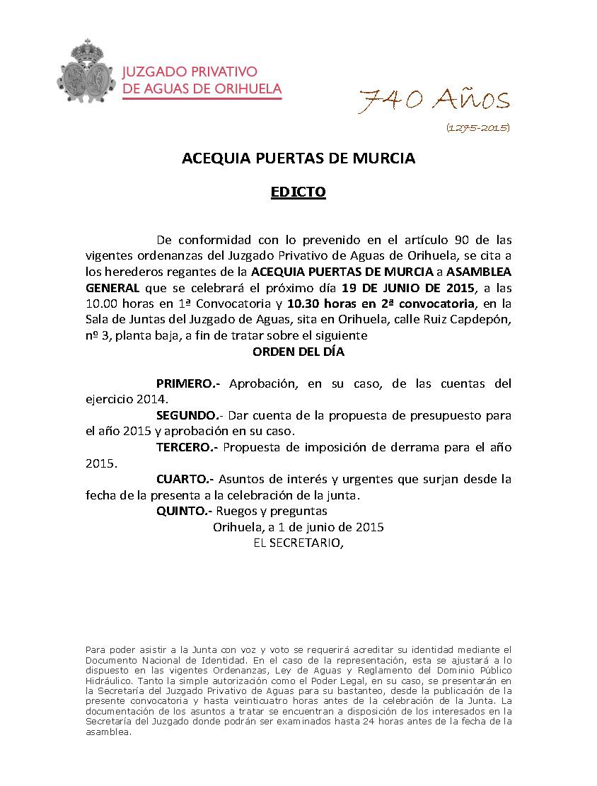 84 2015 ACEQUIA PUERTAS DE MURCIA  EDICTO JUNTA