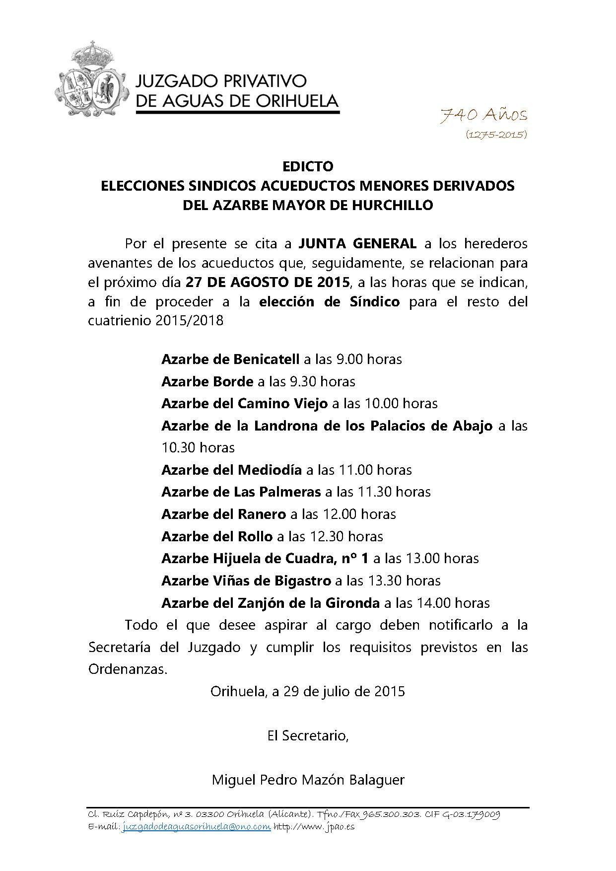 112 2015 EDICTO CONVOCATORIA ELECCIONES