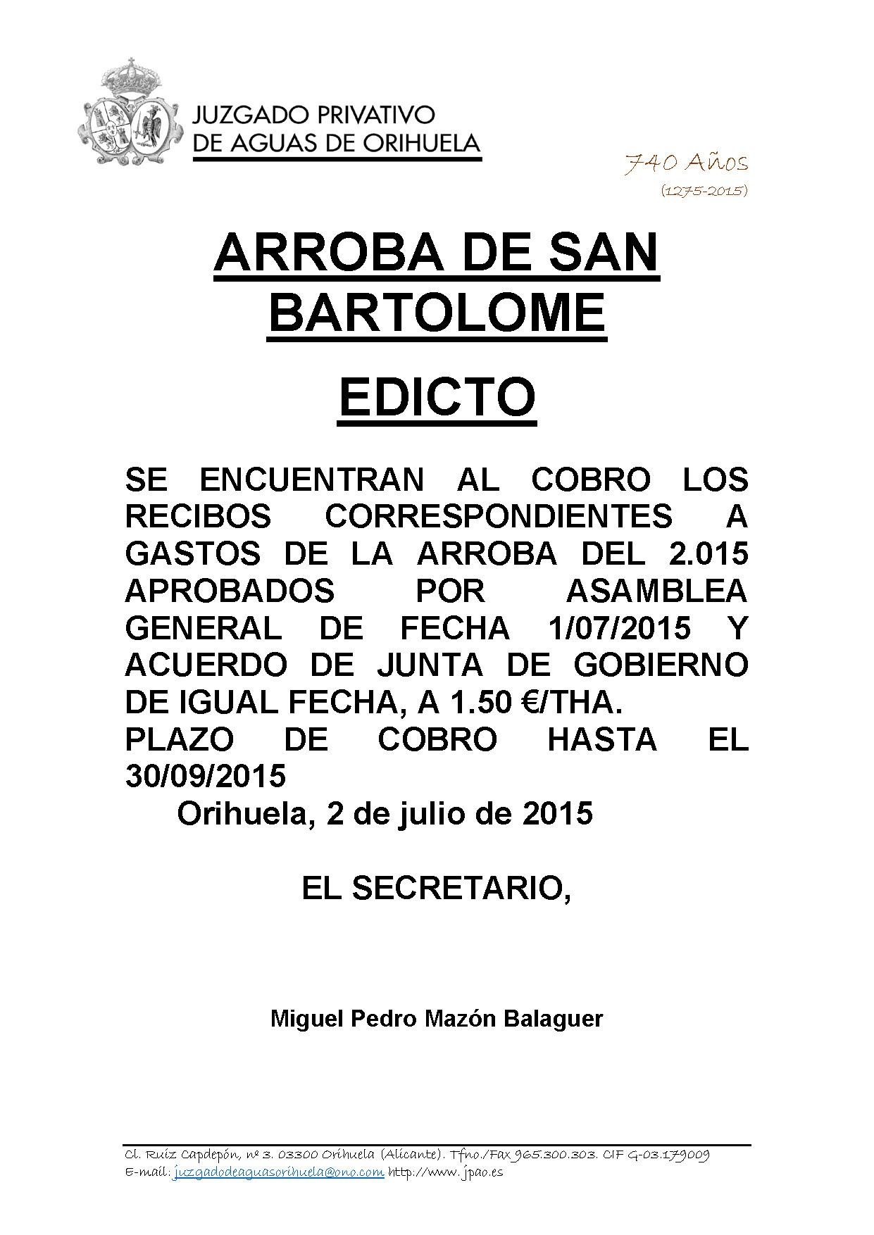88 2015 arroba de san bartolome  EDICTO IMPOSICION DERRAMA