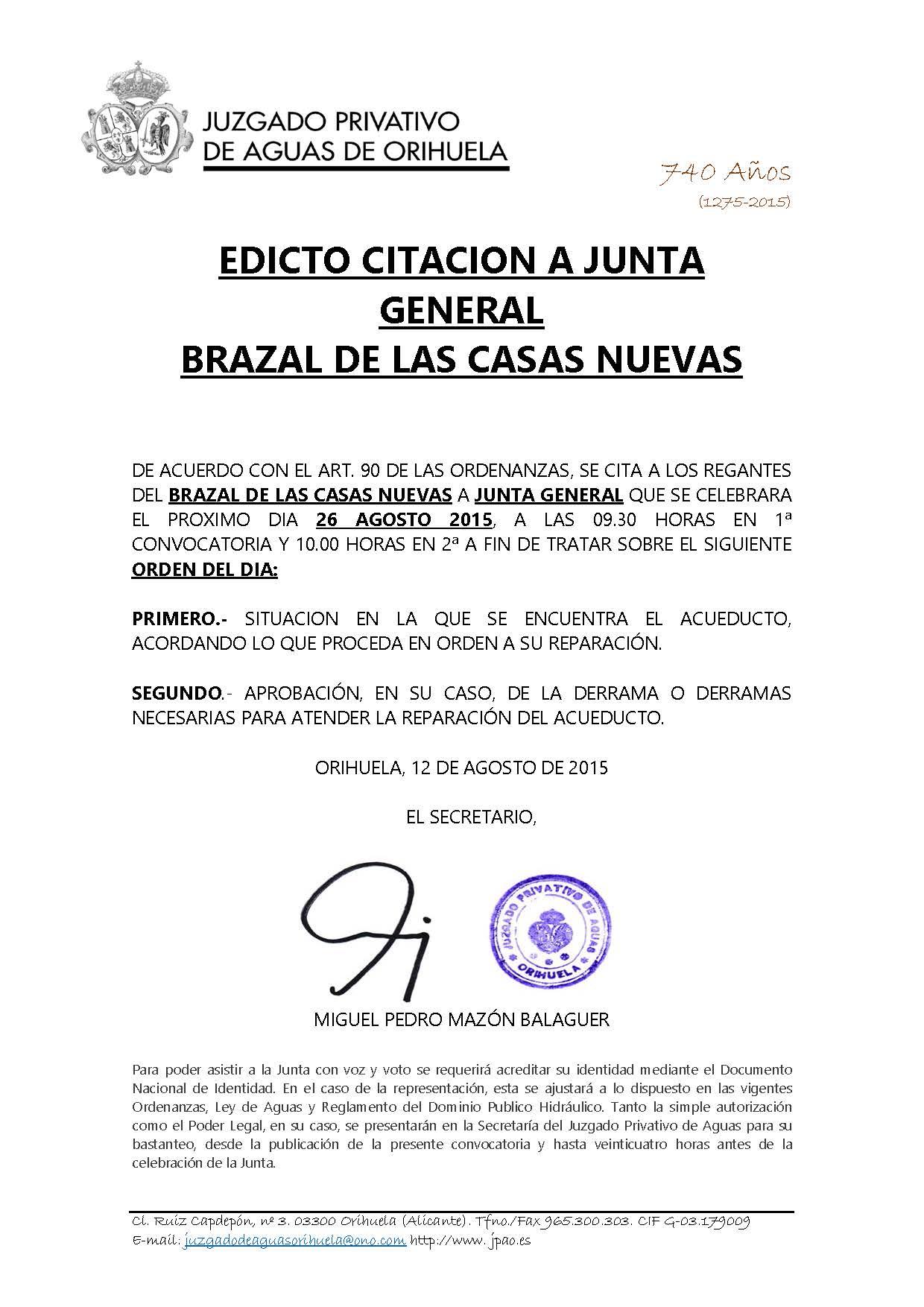 124 2015 BRAZAL DE LAS CASAS NUEVAS. EDICTO CITACION
