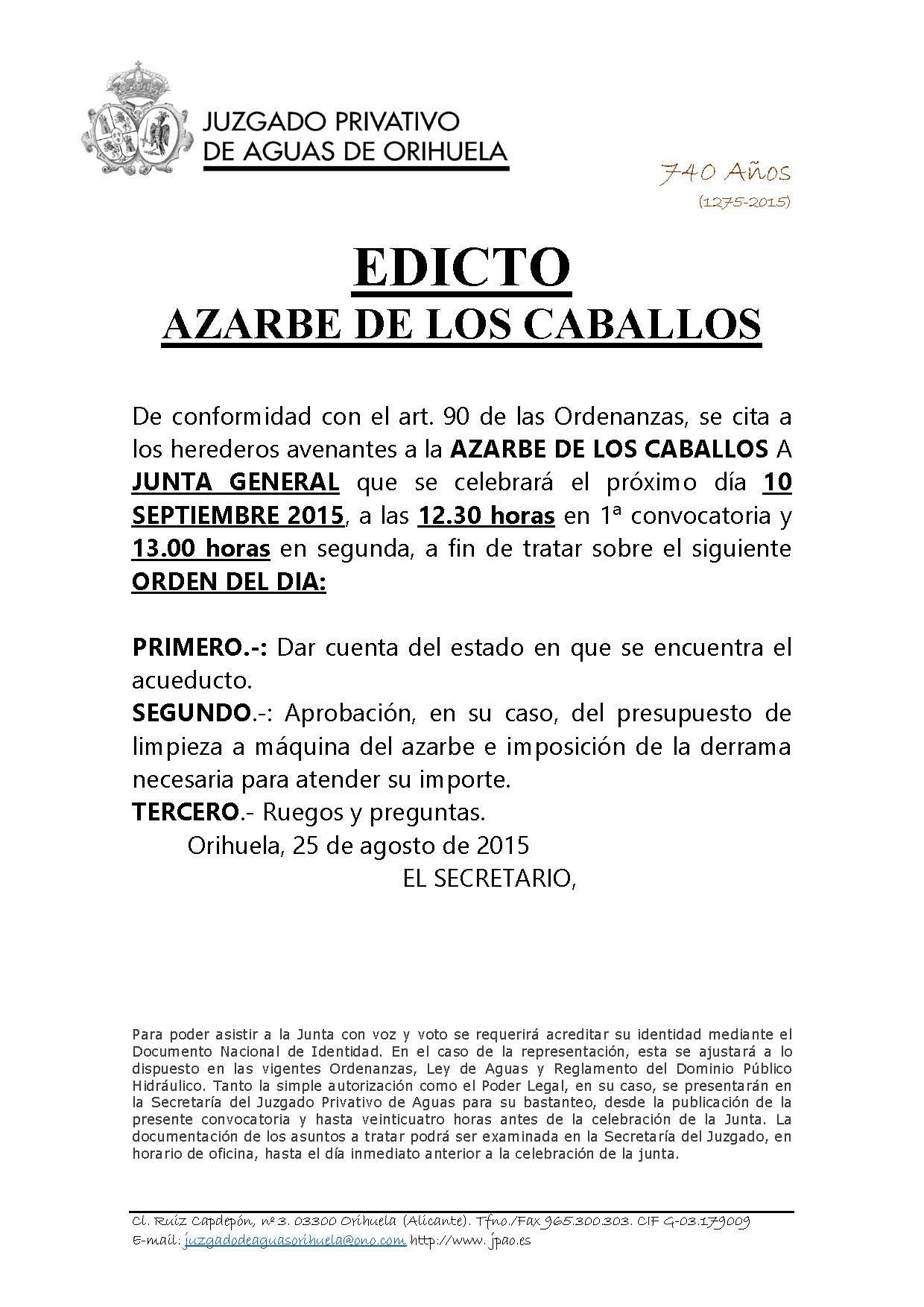 ARROBA DE CABALLOS. COMPARECENCIA EDICTO CITACION JUNTA 26082015 1