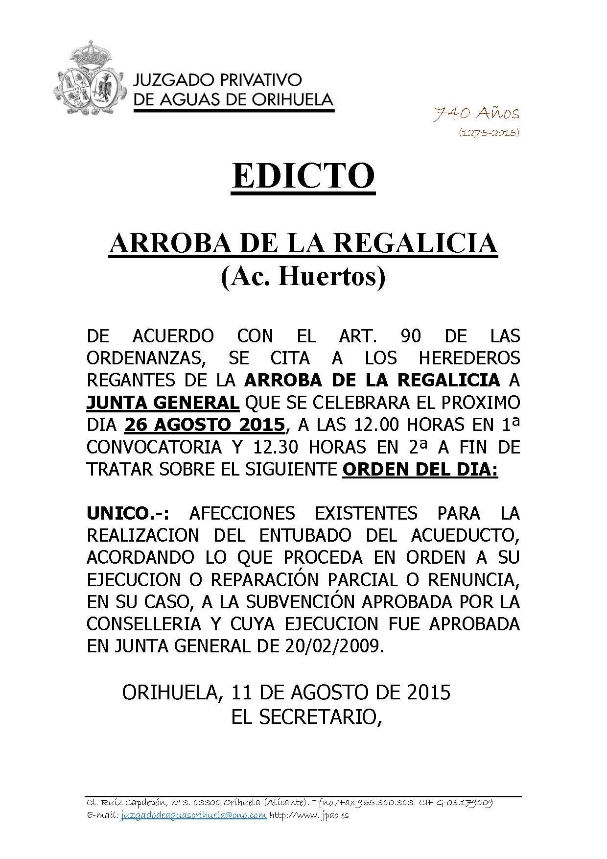 ARROBA DE LA REGALICIA. COMPARECENCIA EDICTO CITACION JUNTA 26082015