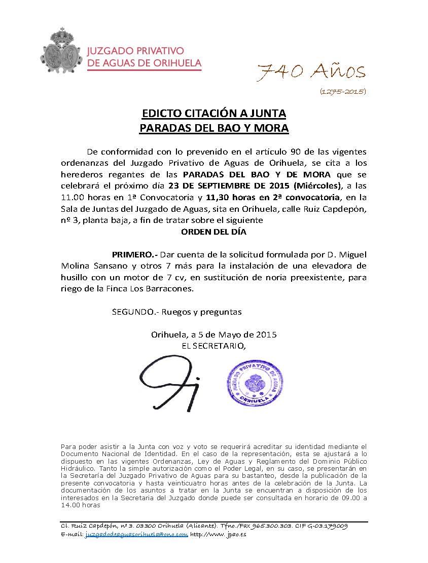 120 2015 PARADA BAO Y MORA. EDICTO CONVOCATORIA JUNTA