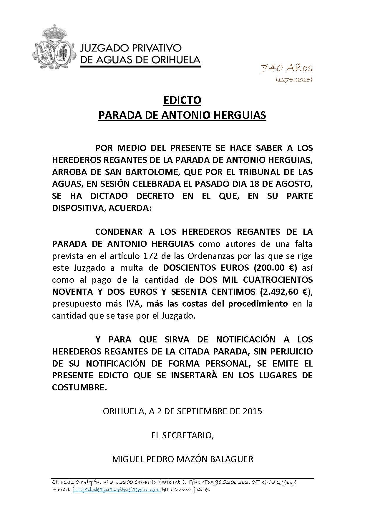 90 2015 ARROBA DE SAN BARTOLOME. EDICTO NOTIFICACION