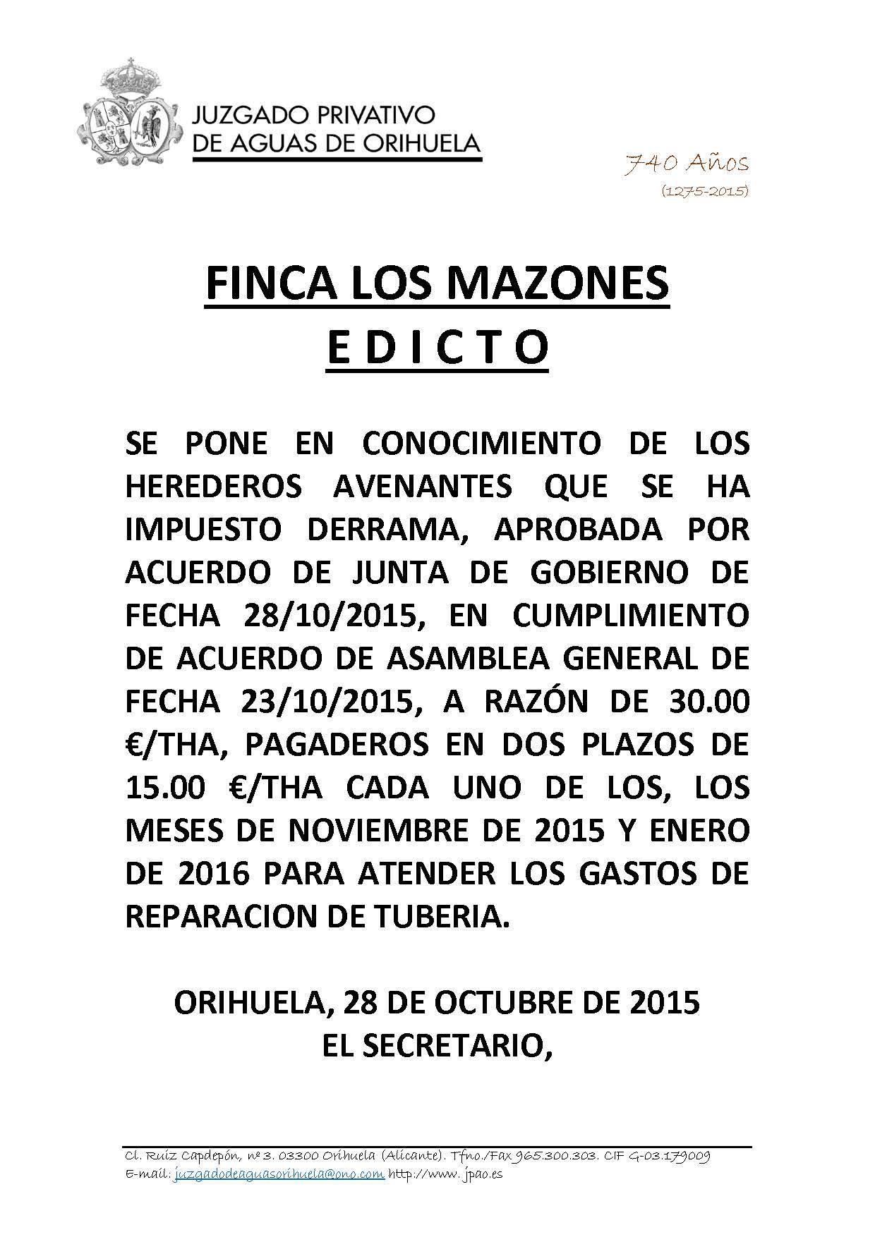 161 2015. FINCA LOS MAZONES. edicto imposicion derrama