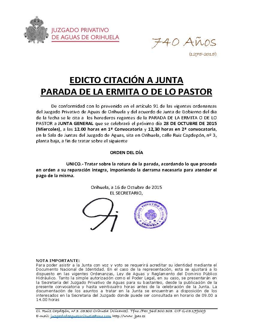 173 2015 PARADA LO PASTOR. edicto