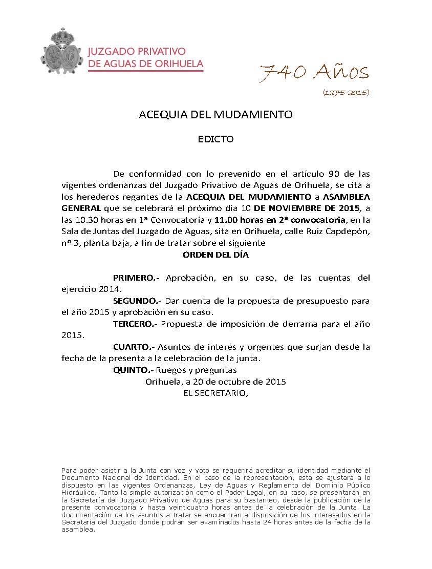 174 2015 ACEQUIA DEL MUDAMIENTO. EDICTO CITACION ASAMBLEA GENERAL