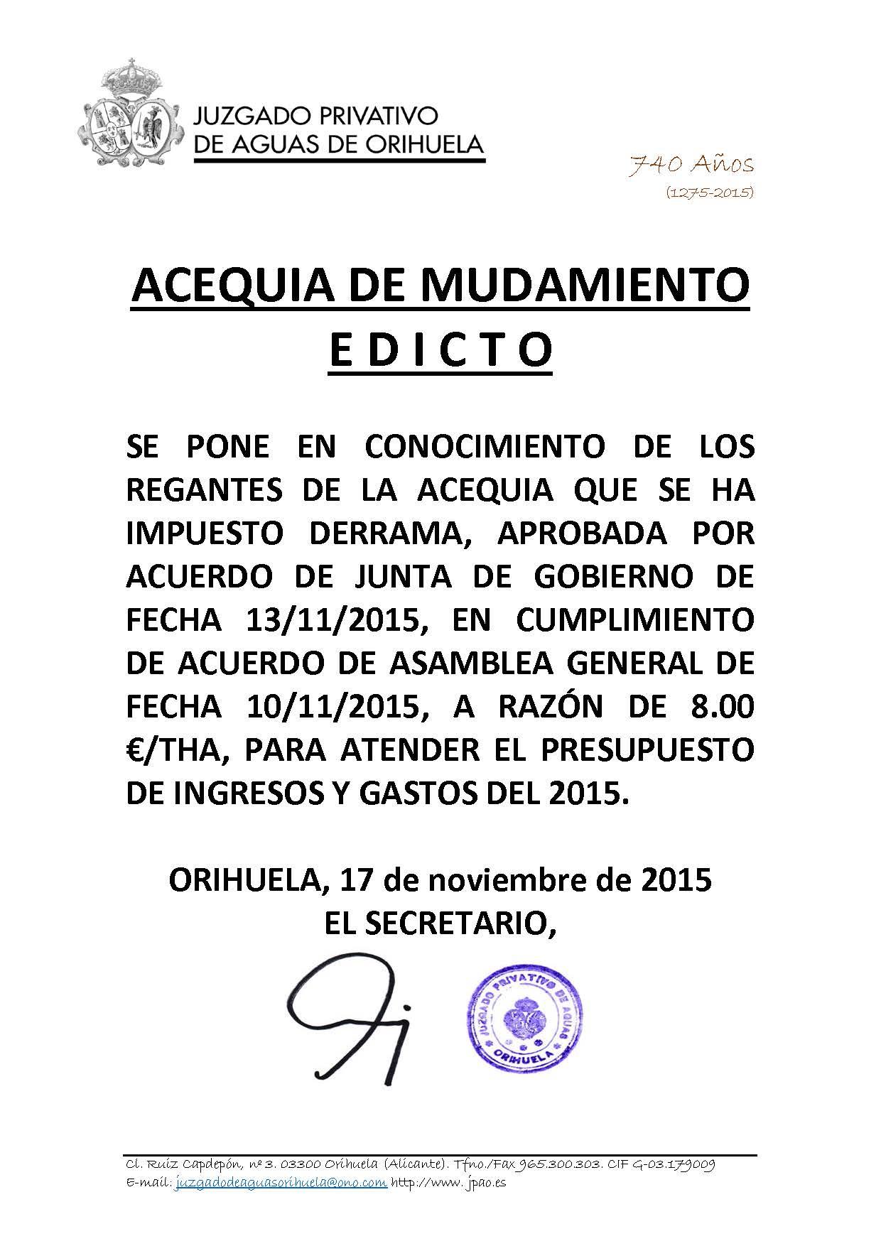 174 2015 ACEQUIA DEL MUDAMIENTO. edicto imposicion derrama