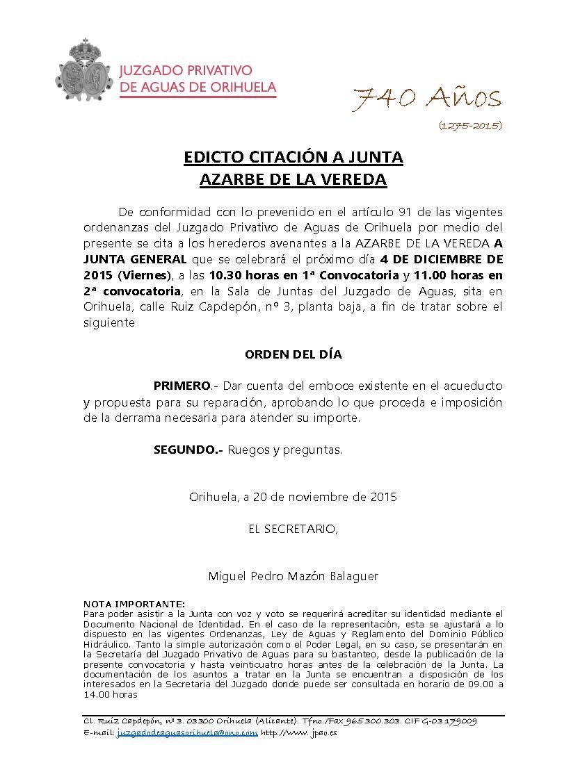 177 2015 AZARBE DE LA VEREDA. EDICTO CITACION A JUNTA