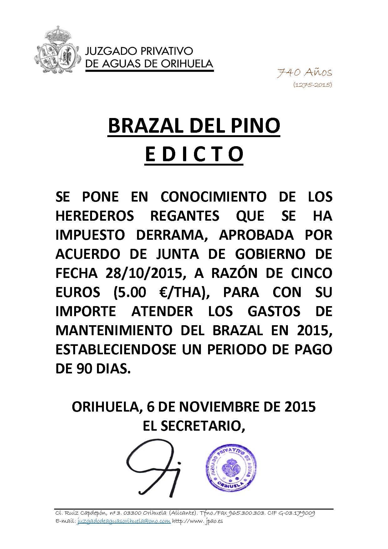 178 2015 BRAZAL DEL PINO. edicto imposicion derrama