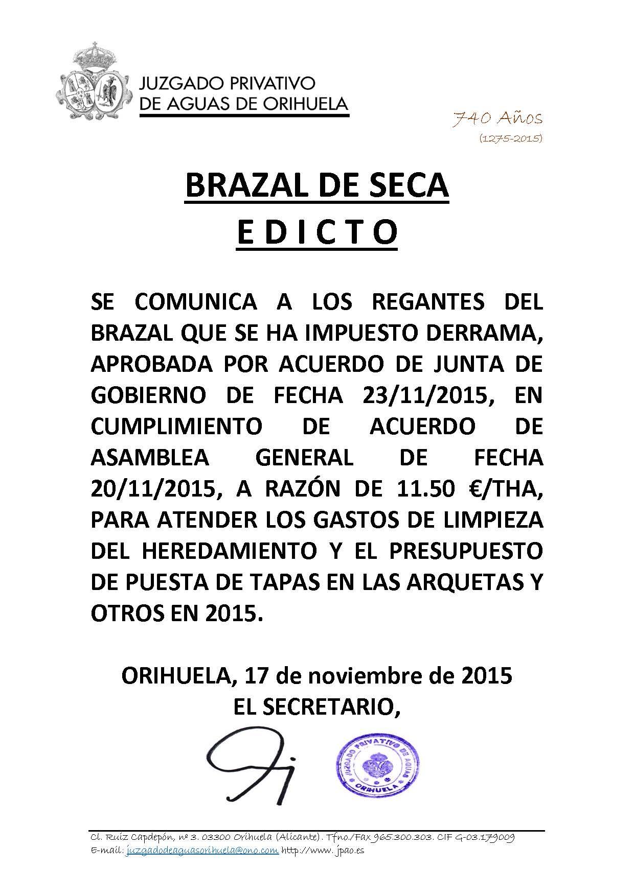 187 2015 BRAZAL DE SECA. edicto imposicion derrama