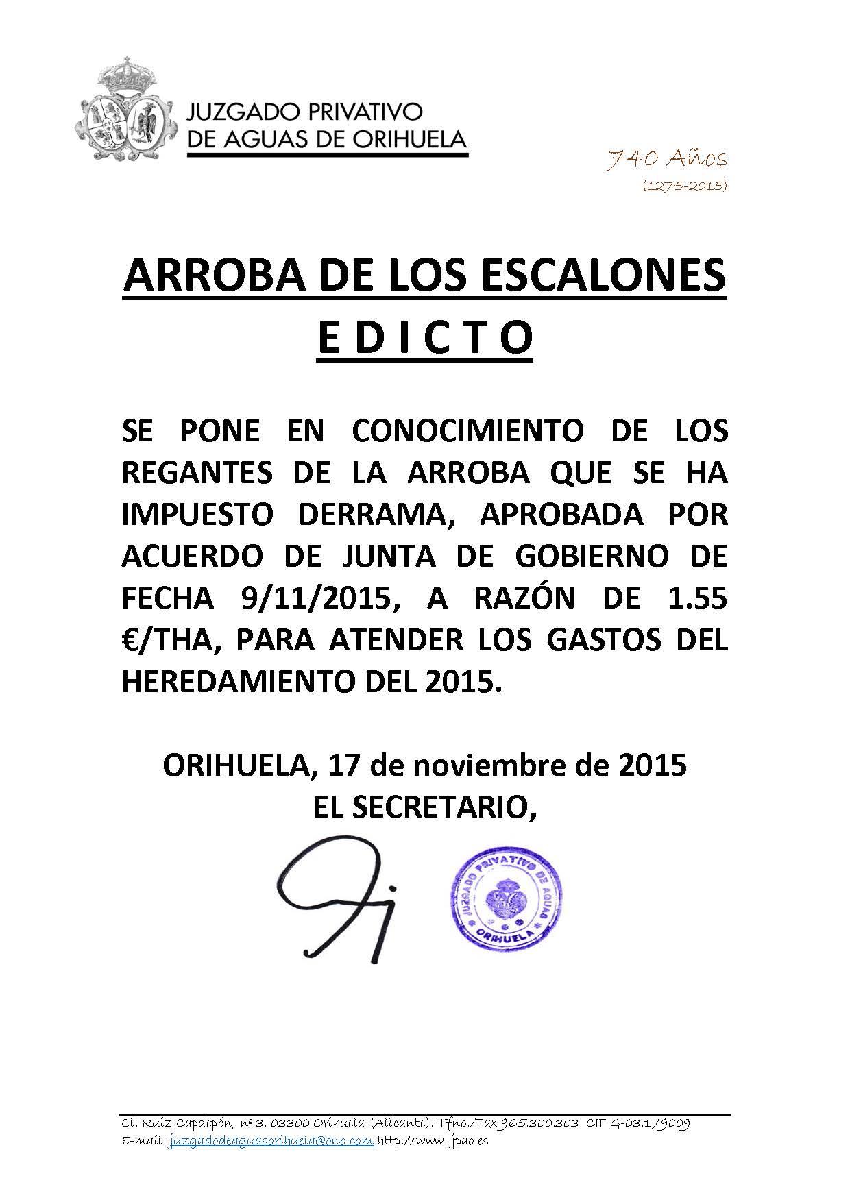 196 2015 ARROBA ESCALONES. edicto imposicion derrama