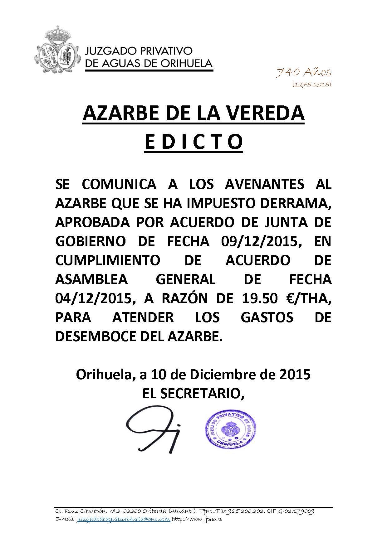 177 2015 azarbe de la vereda. edicto imposición derrama