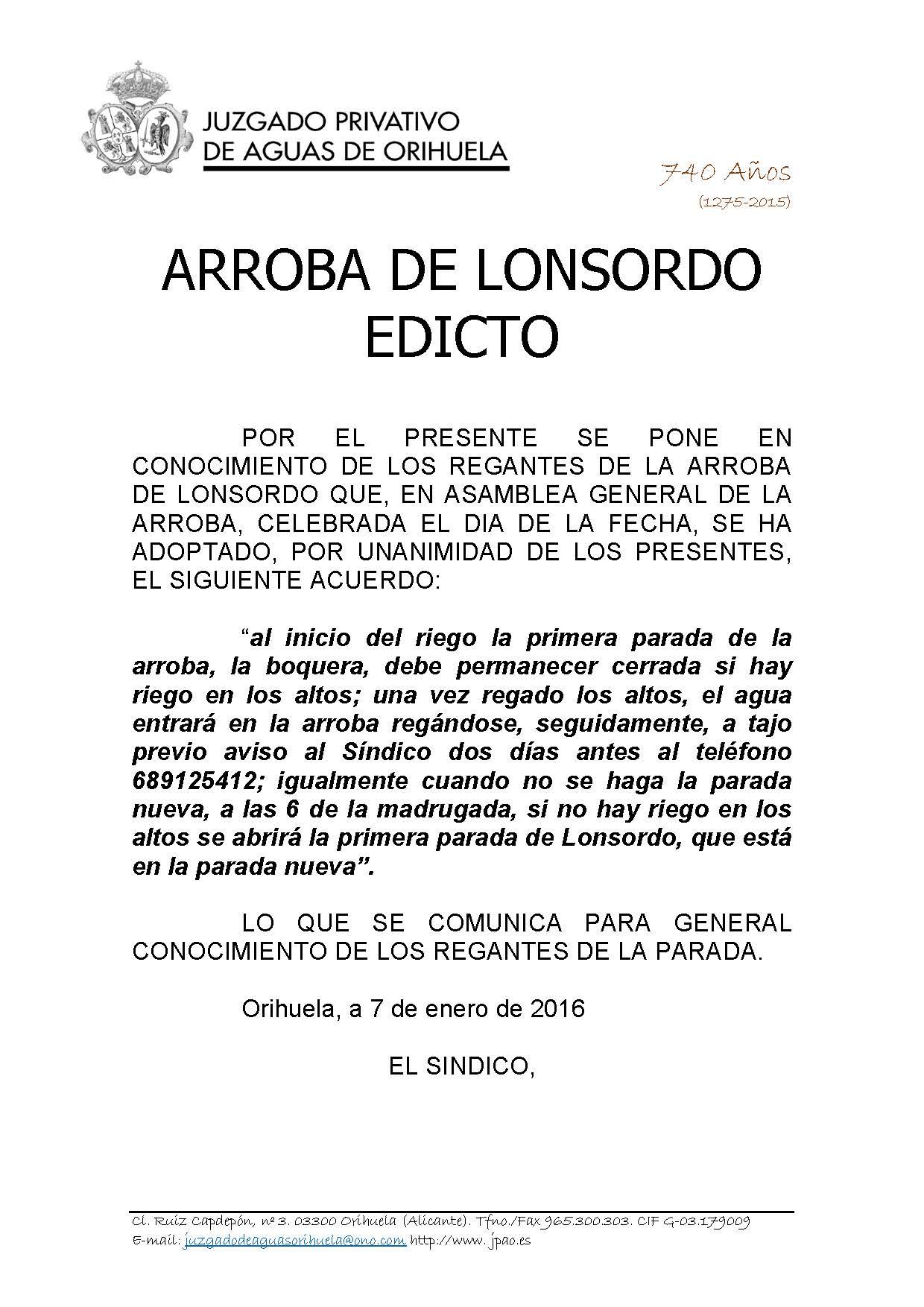 213 2015 arroba de lonsordo. edicto de fecha 07012016