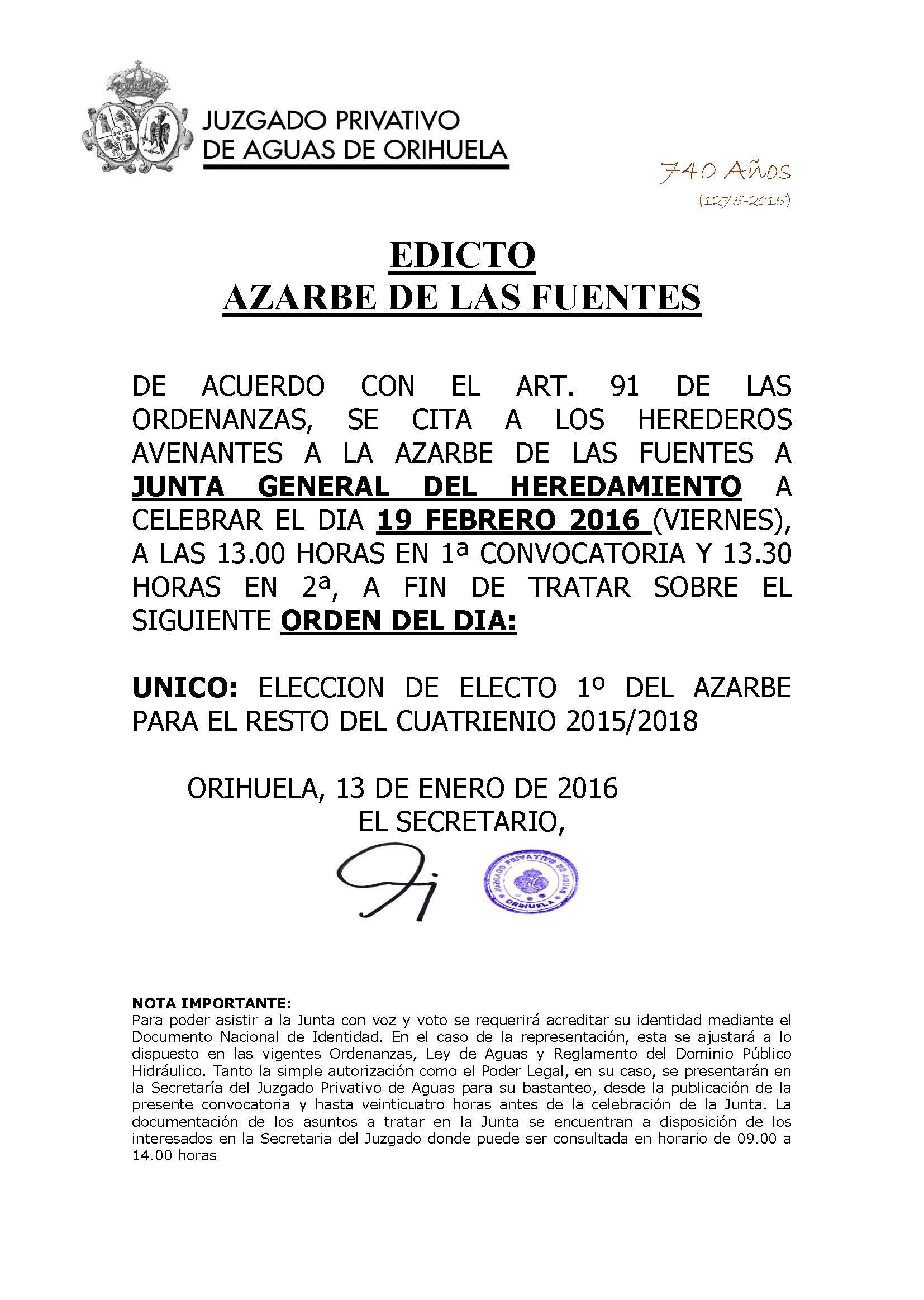 11 2016 azarbe de las fuentes. edicto convocatoria junta 19022016