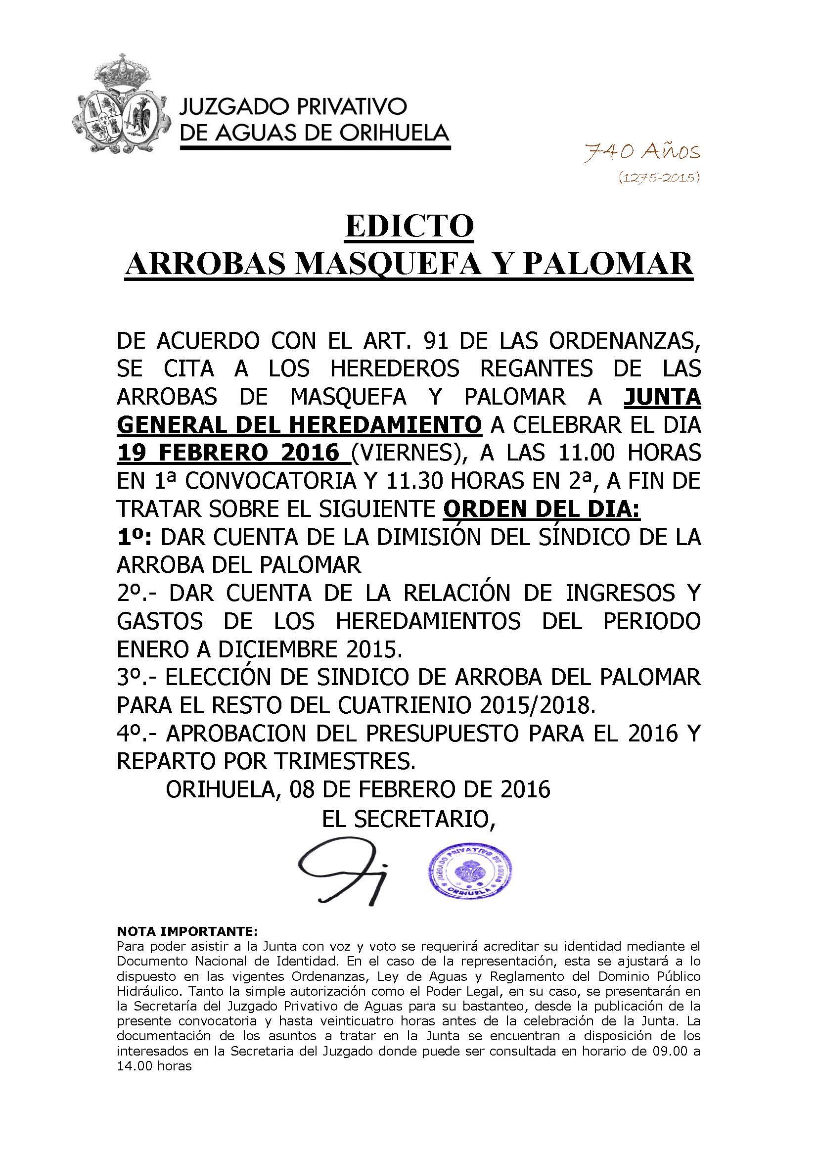 31 2016 arrobas de masquefa y palomar. edicto convocatoria junta