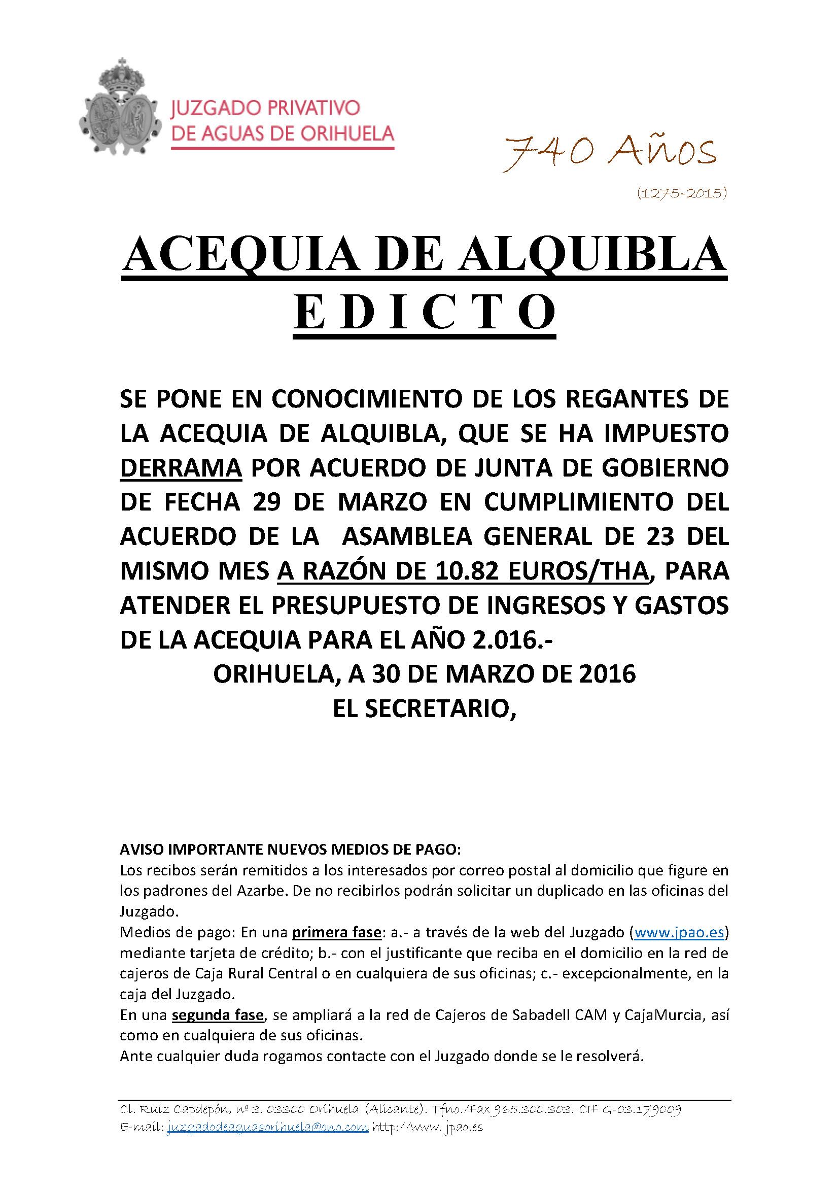 41 2016 ACEQUIA ALQUIBLA. EDICTO IMPOSICION DERRAMA