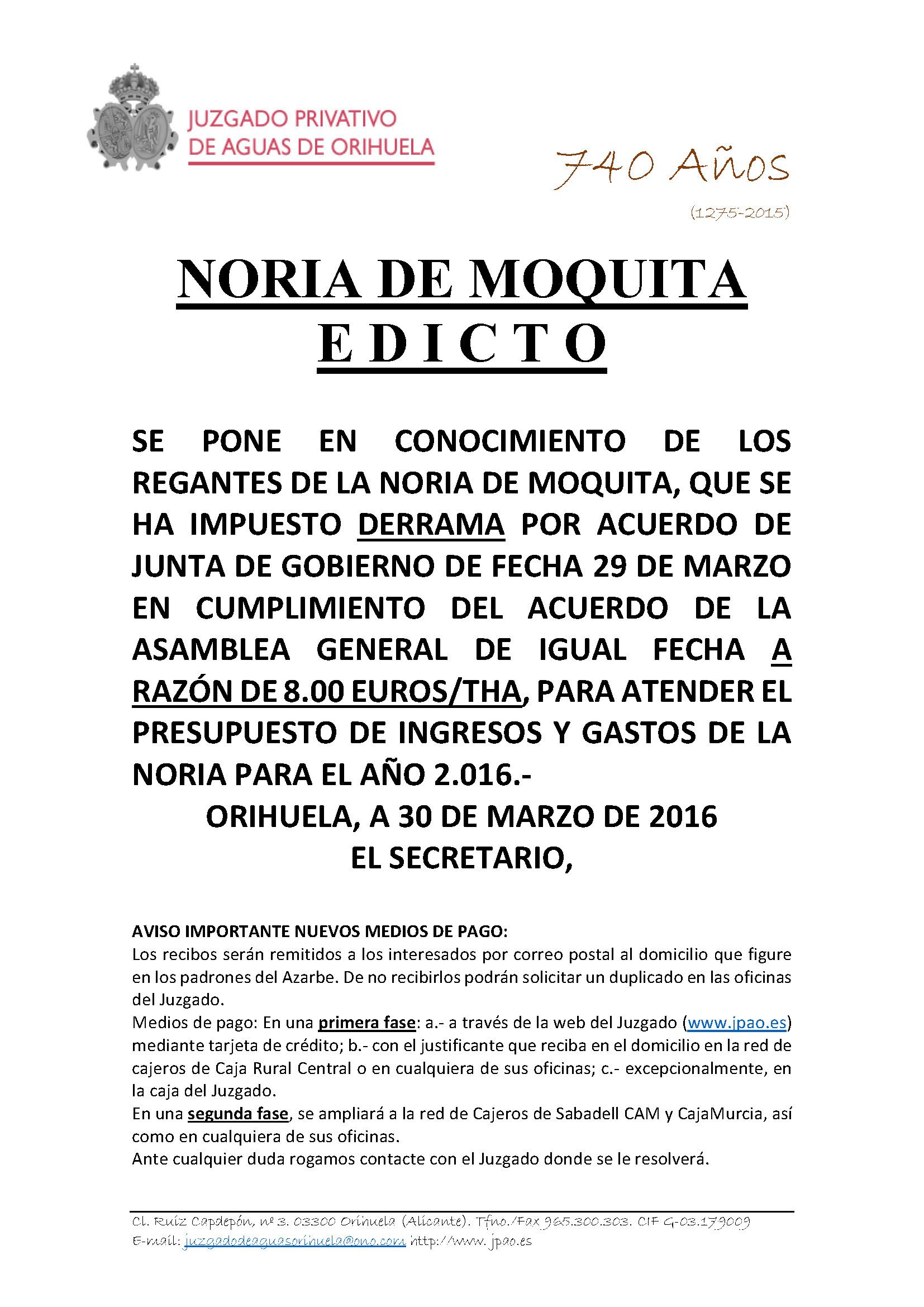 46 2016 NORIA DE MOQUITA. EDICTO IMPOSICION DERRAMA 2016