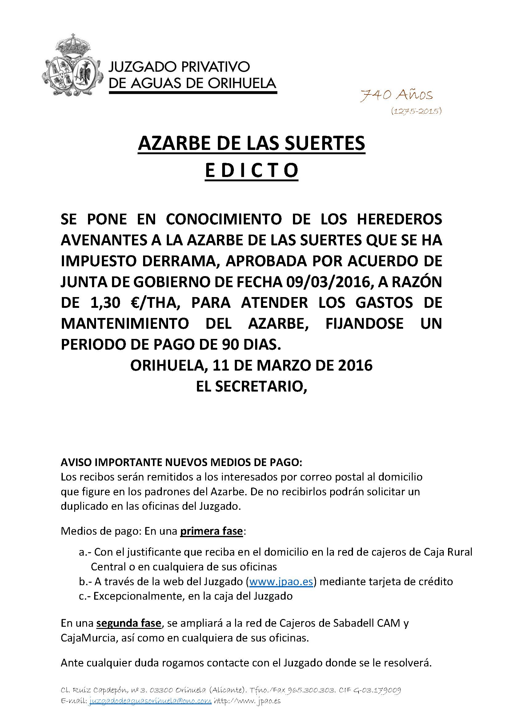 53 2016 AZARBE DE LAS SUERTES. EDICTO
