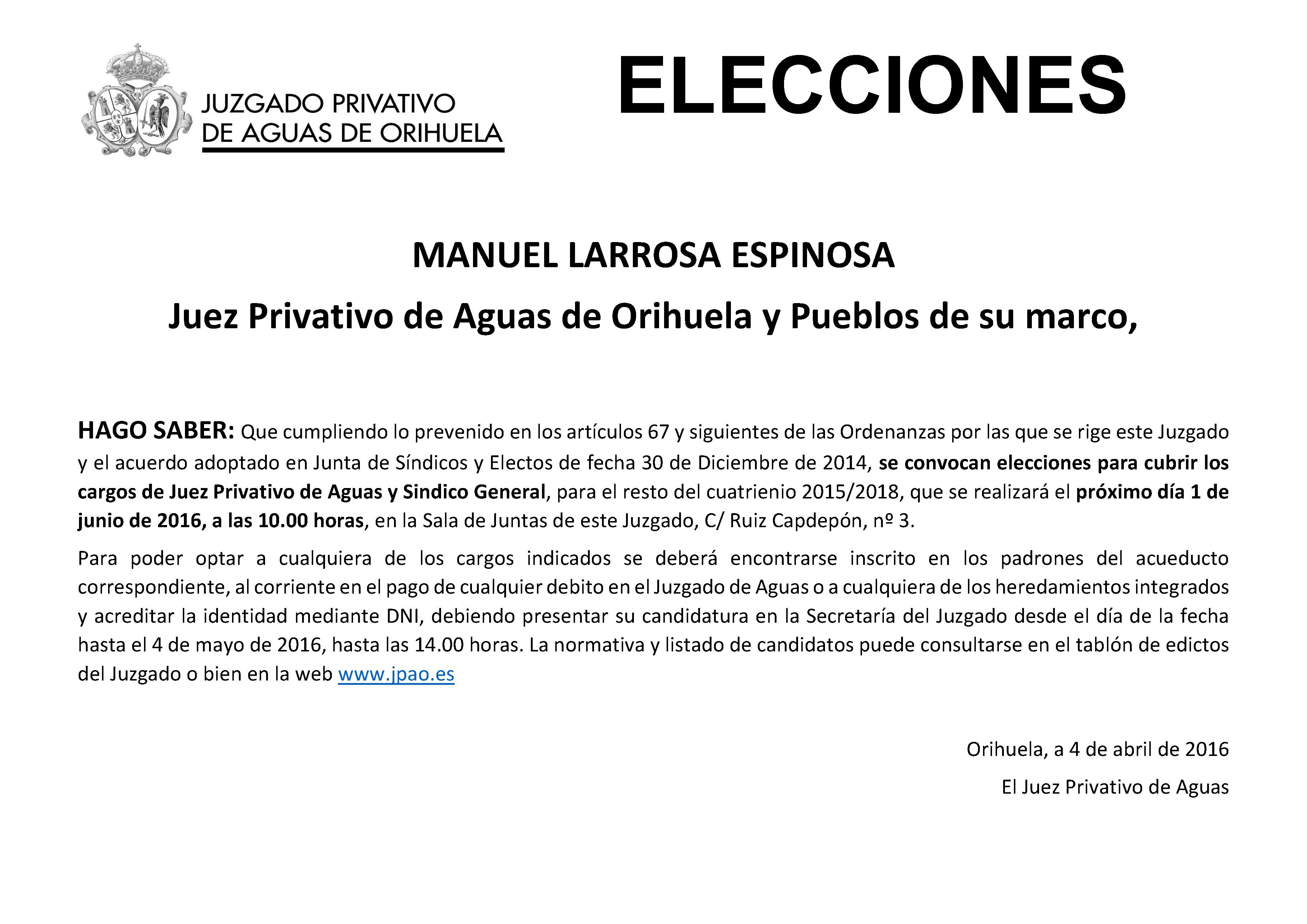 2016 EDICTO CONVOCATORIA ELECCIONES JUEZ Y SINDICO GENERAL